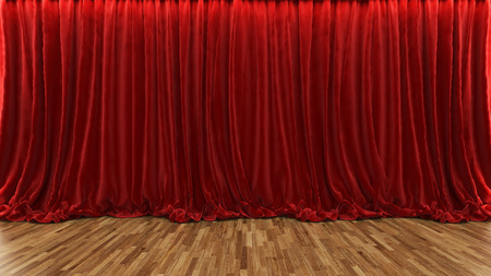 3d rendering red theater and cinema curtain with parquet floor by Sedat SEVEN 写真素材