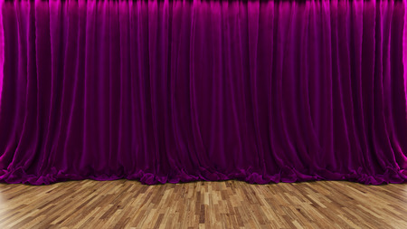 parquet floor: 3d rendering purple theater and cinema curtain with parquet floor by Sedat SEVEN