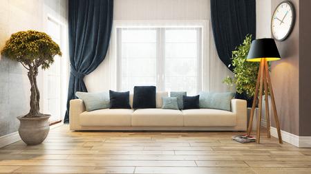 Wohnzimmer oder Salon Interieur mit Sitz 3D-Rendering Editorial