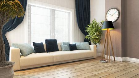 Wohnzimmer oder Saloon Interior Design mit Sitz und Vorhang 3D-Rendering