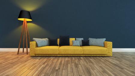 gele zitting met kleurrijke kussens voor donker blauwe muur 3D-rendering