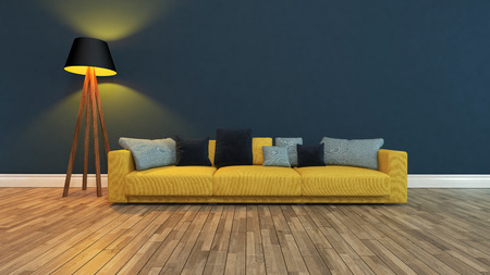 yellow seat with colorful pillow front dark blue wall 3d rendering