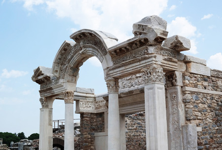 Ancient ruins in Ephesus  in Turkey historical place background