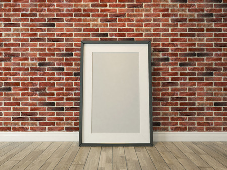 old office: picture frame on the brick wall and wood floor for picture, background, template, advertising rendering