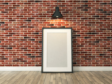 picture frame on the red brick wall and wood floor under spot light for picture, background, template, advertising rendering