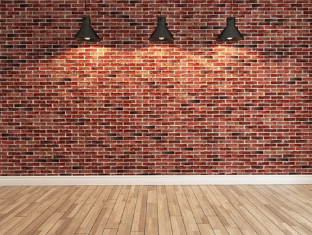 Interior red brick wall decoration under three light, interior wall pattern and background
