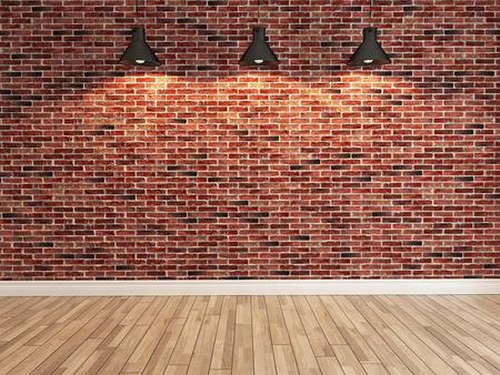 Interieur rode bakstenen muur decoratie onder drie licht, interieur muur patroon en achtergrond Stockfoto