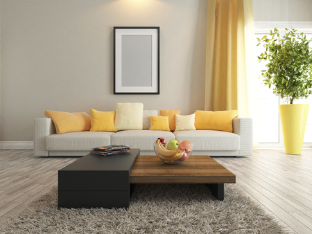 home decorations: modern interior design with carpet and stand
