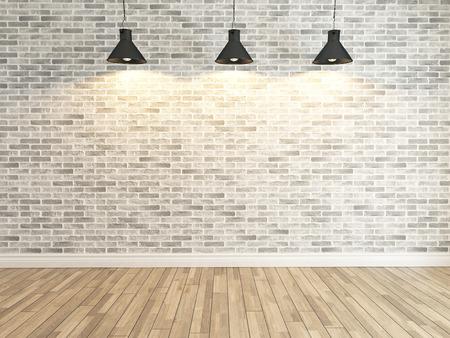 Binnenlandse witte bakstenen muur decoratie onder drie licht, interieur muur patroon en achtergrond Stockfoto