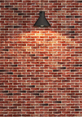 Interior red brick wall decoration, interior wall pattern and background Reklamní fotografie - 47615953