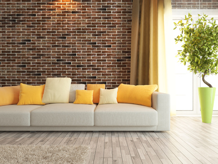 arte moderno: sof� moderno con pared de ladrillo rojo prestaci�n dise�o de interiores Foto de archivo