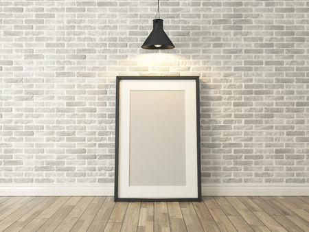 white wood floor: picture frame on the white brick wall and wood floor under spot light for picture, background, template, advertising rendering Stock Photo