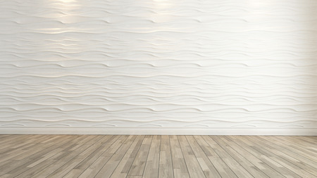 interior layout: wave wall decoration with wooden floor background and template