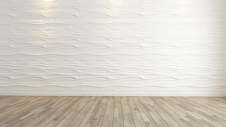 wave wanddecoratie met houten vloer achtergrond en sjabloon