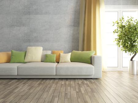 ソファ インテリア デザインでコンクリートの壁