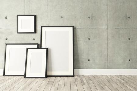 Lege fotolijstjes met betonnen muur en houten parket decor zoals loft stijl, achtergrond, sjabloon ontwerp