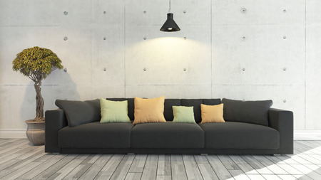 floor cloth: Black cloth sofa with concrete wall and wooden parquet decor like loft style under light, background, template design Stock Photo