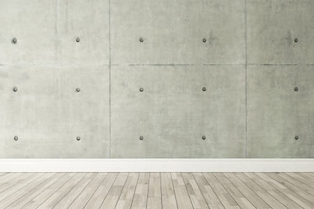wall decor: concrete wall and wooden parquet decor like loft style, background, template design Stock Photo