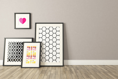 room wall: Blank picture frames with wall and wooden parquet decor, background, template design