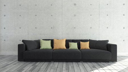 wall decor: Black cloth sofa with concrete wall and wooden parquet decor like loft style, background, template design Stock Photo