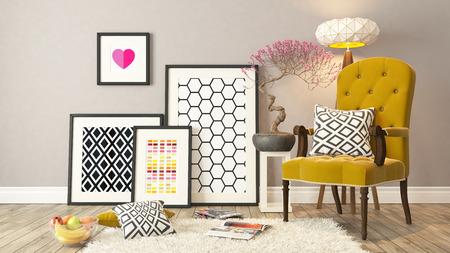 fotolijstjes met gele bergere en houten parket decor, achtergrond, sjabloon ontwerp Stockfoto