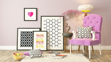 interior layout: Black picture frames decor with pink bergere, background, template design 3d render
