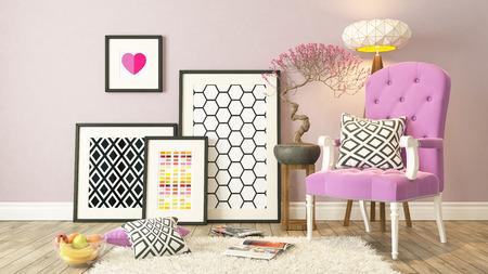 Zwarte omlijstingen decor met roze bergere, 3d achtergrond, template ontwerp maken Stockfoto