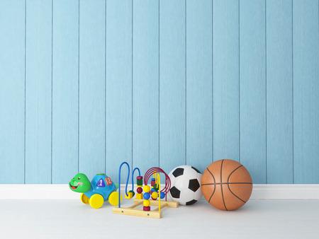 speelgoed, ballen in kindertehuizen of kinderkamer met blauw geschilderd houten rendering achtergrond voor uw ontwerp