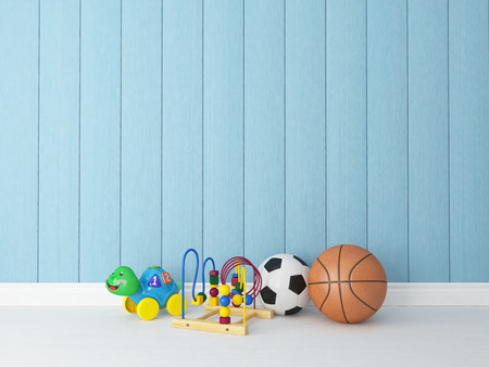 toys, balls in childrens or kids room with painted blue wooden rendering background for your design