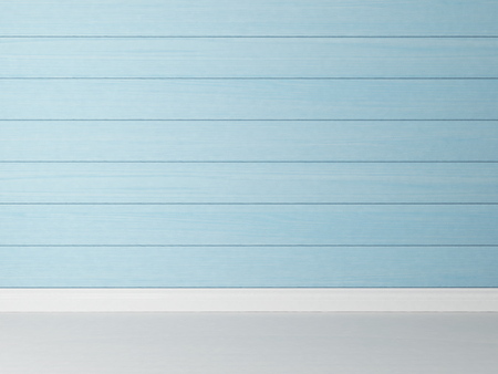home interior: painted horizontal blue wooden rendering wall background for your design Stock Photo