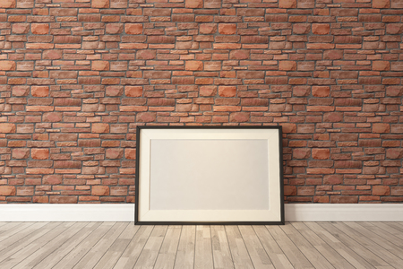 Blank picture frames with red natural brick wall and wooden parquet decor like loft style, background, template design