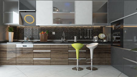 black ceramic and wooden furniture under light modern kitchen 3d design