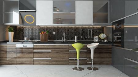 zwarte keramische en houten meubilair onder lichte moderne keuken 3D-ontwerp