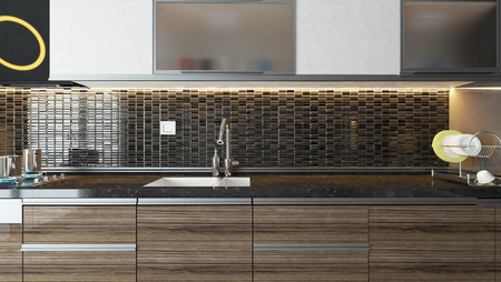 furniture design: modern kitchen design  interior background for your product. Stock Photo