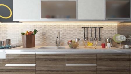 blanco diseño de la cocina de cerámica con máquinas de frutas frescas y cocina