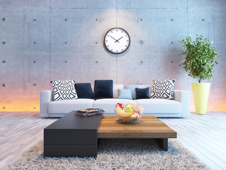 living room or saloon interior design with under light wall 3d rendering Zdjęcie Seryjne