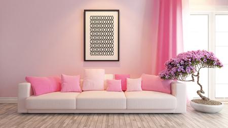 ピンクのシートと盆栽の木とモダンなピンクのインテリア