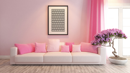 moderne roze interieur met roze stoel en bonsai boom Stockfoto