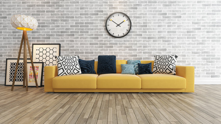 living room window: living room or saloon interior design with big wall yellow seat or sofa and picture frames watch 3d rendering Stock Photo