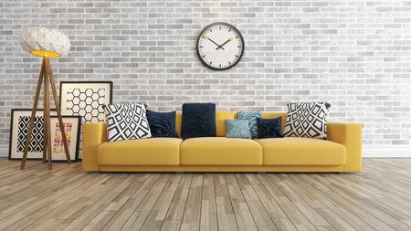 paredes de ladrillos: sala de estar o el diseño interior del salón con la pared de asiento grande de color amarillo o sofás y marcos Seguir la representación 3d