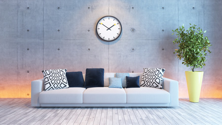 emty: living room or saloon interior design with under light wall 3d rendering Stock Photo