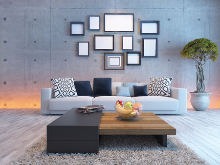 living room or saloon interior design with under light wall and picture frames 3d rendering Stock Photo