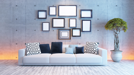 living room or saloon interior design with under light wall and picture frames 3d rendering Zdjęcie Seryjne