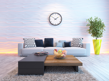muebles de madera: sala de estar o el diseño interior del salón con el asiento o sofá y onda pared representación 3D