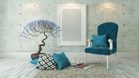 picture frames with blue bergere and concrete wall decor, background, template design
