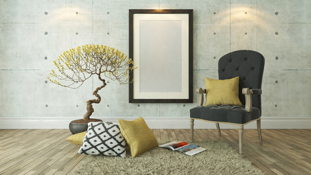 picture frames with gray bergere and yellow pillow decor, background, template design Zdjęcie Seryjne - 52747810