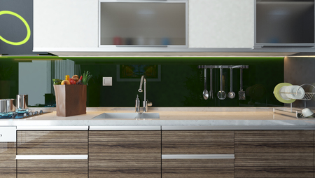 kitchen modern: green acrylic modern kitchen design  interior background for montage your product.