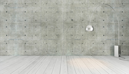 concrete wall and white wooden parquet decor like loft style with floor light, background, template design rendering