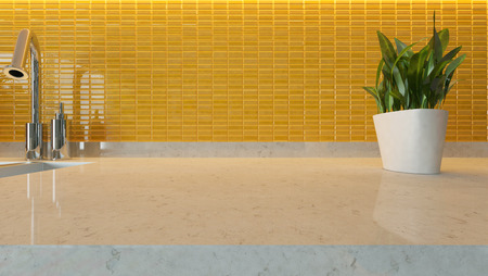 yellow ceramic modern kitchen design background with kitchen marble desk space for your design and montage product