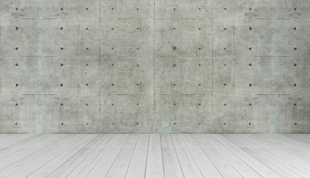 Betonwand und weißen Holzparkett Dekor wie im Loft-Stil, Hintergrund, Template-Design-Rendering